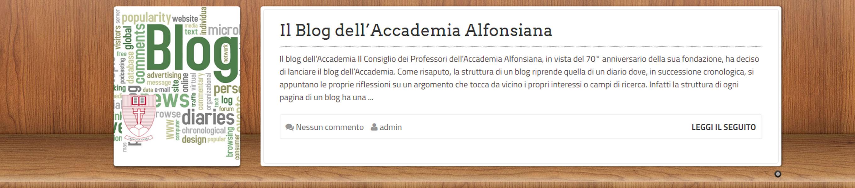 On Line il Blog dell'Accademia Alfonsiana