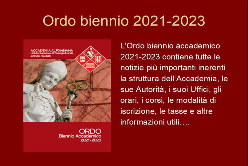 Pubblicato l'Ordo biennio accademico 2021-2023