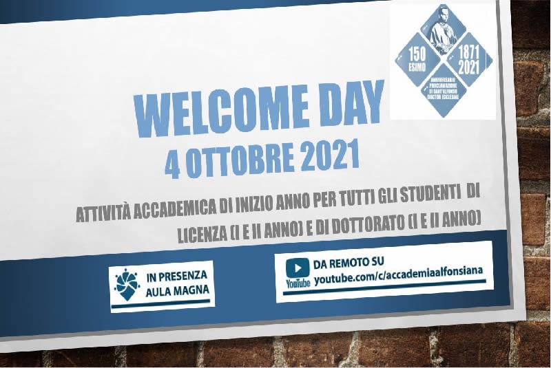 WELCOME DAY – 4 ottobre 2021 – AGGIORNAMENTI UTILI